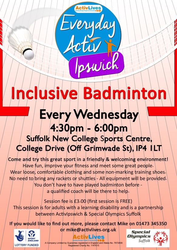 Everyday ActivIpswich Inclusive Badminton Sept16 copy